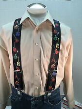 "New, Men's, Guitars on Black XL, 2"", Adj.  Suspenders / Braces, Made in the USA"
