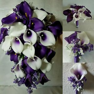 Purple Ivory White Rose Calla Lily Bridal Wedding Bouquet & Boutonniere