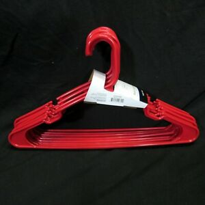 Red Plastic Notched Clothes Hangers 10 Dress Skirt Tie Pant 1 Pack