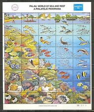 Palau #103, 1986 World of Sea & Reef - AMERIPEX '86, Se-Tenant Sheet Unused NH