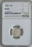 1958 Roosevelt Dime NGC PF69, PROOF 69