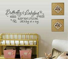 "Butterfly Kisses & Ladybug Hugs.Vinyl Wall Decal Décor 12"" x 31"""