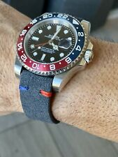 20mm Rolex DARK GRAY suede Pepsi stitch (Red & blue) Leather watch band strap