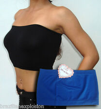 Seamless strapless bandeau tube top bra ROYAL BLUE no pads FREE SHIPPING to US