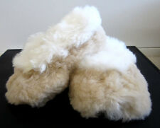 New Alpaca Fur/Suede  SLIPPERS Kid Size US 12.5 GoldenBrown/white from Peru
