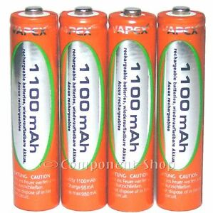 4x AAA 1100mAh NiMH Vapex rechargeable batteries WITH CASE