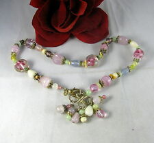 Gorgeous Pastel Glass  Beaded Tassel Necklace FERAL CAT RESCUE