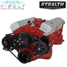 Black Sbc V Belt Kit Power Steering 283 327 350 400 Chevy Small Block
