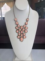 "Vintage Peach Faceted Bib Statement Necklace Bohemian Gold 18"" Long Plus 3 Inch"