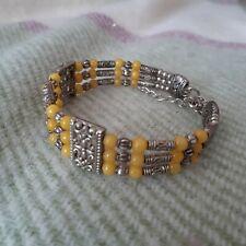 Women-girls- mans -Tibetan 925 Silver Charm Bracelet-Yellow Bead - New