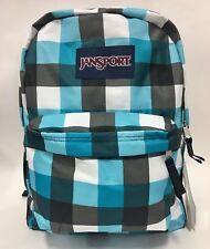 NEW Jansport Superbreak Blue Streak Block Check Teal Backpack School Bag w/ Tags