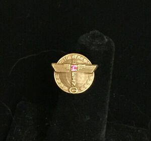 Boeing 10 Year Service Pin-10K Gold Filled