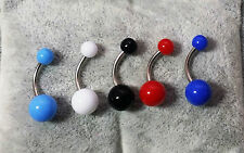 PIERCING OMBELICO 5 COLORI COLOURS NAVEL BELLY BARS 316L SURGICAL STEEL 1,6 MM