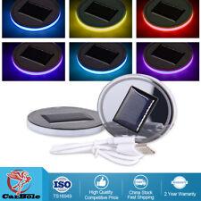 2pcs Solar Energy Car Auto Cup Holder Bottom Pad Mat Blue LED Light Cover Trim