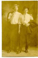 Antique RPPC Postcard Photo Young Men Friends Uncle Orrin Pose