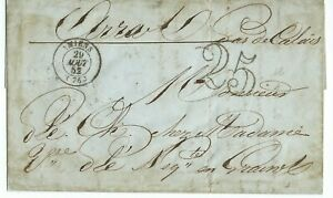 Entire from Amiens to Arras with Handstamp 25 1852