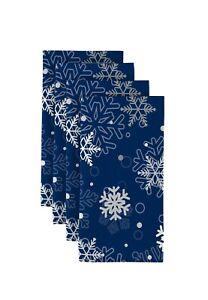 """100% Milliken Polyester Winter Blue Snowflakes 18"""" x 18"""" Napkins 1 Dozen"""