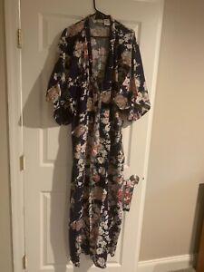 NEW Smithsonian Kimono XLarge Womens Green Pink Floral Asian Robe 100% Cotton