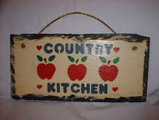 SLATE Wall Hanging Red Apples Country Kitchen Rectangular Handpainted Decor