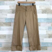 Anthropologie Daughters Of Liberation Wide Leg Cuffed Crop Pants Tan Womens 10