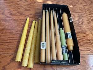 """Box Of 10 Root Mostly Tangerine Color Unscented Tapers Dinner Candles 12,9, 6"""""""