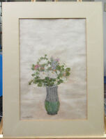 Leon Hartl '48 Modernist White Roses Still Life Gouache Listed New York Artis