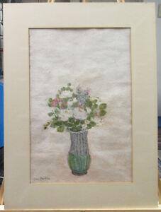 Leon Hartl '48 Modernist White Roses Still Life Gouache Listed New York Artis