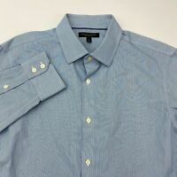 Banana Republic Button Up Shirt Mens Large Blue White Slim Fit Non-Iron Striped