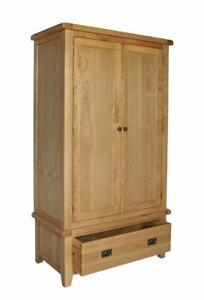 Trewick Rustic Oak Double Wardrobe with Drawer