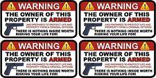 "4 - 1.5"" x 3"" Owner is Armed Warning 2nd Amendment Guns Firearm Sticker Decal"