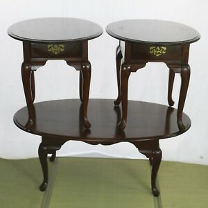 Vintage Broyhill Traditional Queen Anne Style Cherry Coffee Table &End Table Set