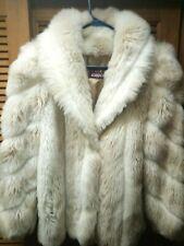 Vintage JORDACHE Womens Ivory White Faux Fur Big Collar Winter Coat size 9/10