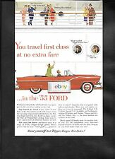 FORD SUNLINER RED CONVERTIBLE FOR 1955 YOU TRAVEL FIRST CLASS AD