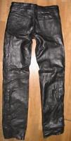 Lange Damen- Schnür- LEDERJEANS / Lederhose in schwarz in ca. Gr. 40