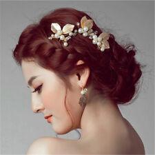 Women Wedding Hair Pin Bridal Accessories Pearl Leaf Metal Clip Combs Diamante