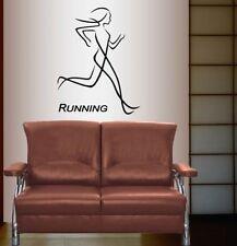 Vinyl Decal  Running Run Girl Woman Sportsman Sports Fitness Wall Decor 886