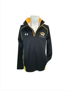 Mizzou Tigers Under Armour Loose Pullover M Black Gold ¼ Zip Poly YGI I1-145