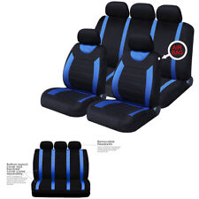 Polyester Fabric Car Front+Rear Seat Covers Full Interior Set Universal Sports