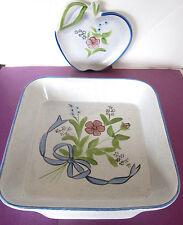 "N.S. Gustin/Los Angeles Potteries 11"" SQUARE BAKER +APPLE DISH ceramics EXC"