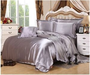 3 PC Silver Gray Queen Satin Silky Bedding Comforter Cover / Duvet Cover Set