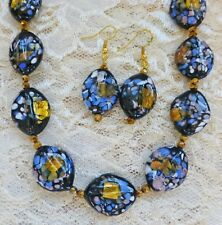 BLACK, GOLD, BLUE, WHITE HANDMADE LAMPWORK BEAD necklace, earrings 17""
