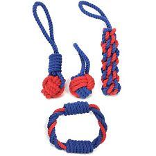 4x Hundespielzeug, Kauseil mit Ball und Griff, aus Baumwolle, in blau/rot
