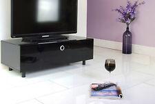 MDA Designs Cubic 1000 Gloss Black Glass TV AV Cabinet Unit With Beamthru Door