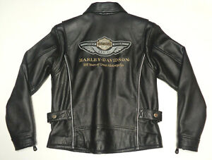 HARLEY DAVIDSON 100TH ANNIVERSARY LEATHER JACKET WOMANS SMALL S-W VERY NICE  138