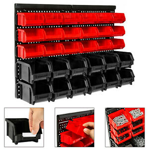 30pcs Plastic Bins Wall Mounted Storage Boxes Garage Tool Parts Organiser Rack
