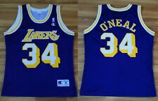 SIZE M NBA LOS ANGELES LAKERS VINTAGE PURPLE SHIRT JERSEY CHAMPION #34 ONEAL
