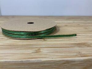 Thin Green & Gold Edge Satin Ribbon 3mm Xmas 2 Meters Craft Card Cake Hamper Uk