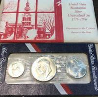 1976 United States Mint Silver 3-pc Bicentennial Unc Coin Set