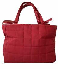 Lancome Red Quilted Satchel Tassel Hand Bag Shoulder Bag Purse