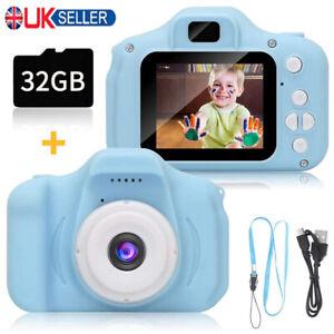 Mini Children Digital Camera Kids Camcorder Video Recorder Toy Gift W/ 32GB Card